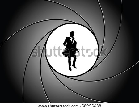 Silhouette of the businessman at gun point - stock vector