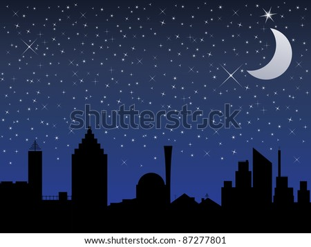 Silhouette of the city and night sky with stars and Moon, vector illustration - stock vector