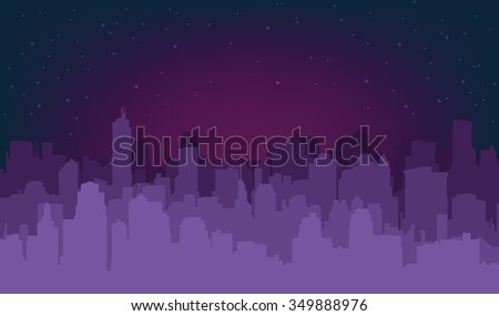 Silhouette of the city at night against the setting sun - stock vector