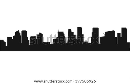 Silhouette of the city flat - stock vector