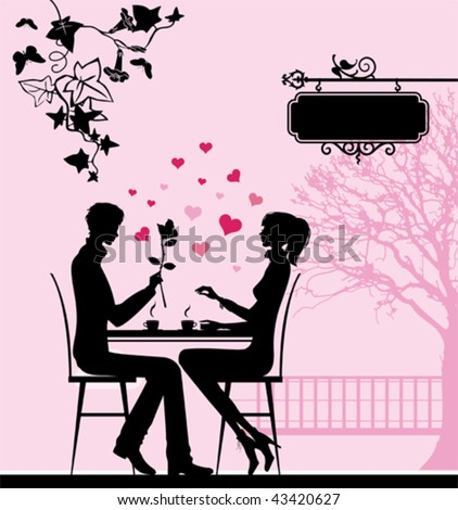 Silhouette of the couple in the cafe.  All elements and textures are individual objects. Vector illustration scale to any size. - stock vector