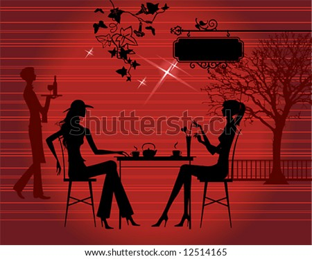 Silhouette of the couple in the cafe, vector illustration - stock vector