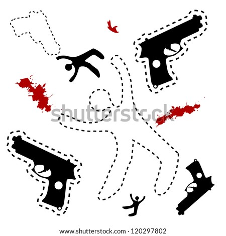 Dead body outline stock images royalty free images vectors silhouette of the dead man and gun on the ground vector background dead body otline pronofoot35fo Gallery