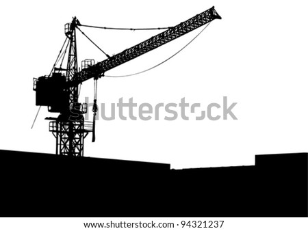 Silhouette of the elevating crane. Vector illustration.
