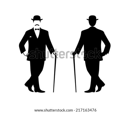 silhouette of the gentleman in a fashionable suit - stock vector