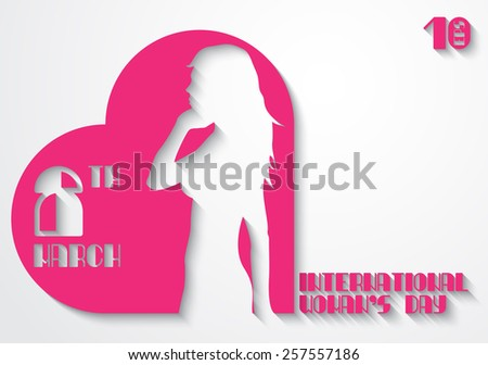 Silhouette of the girl in a pink heart for the 8 th March