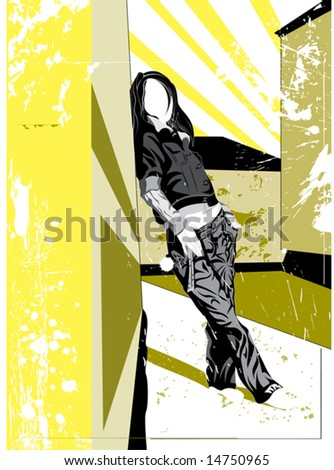 silhouette of the girl in jeans   on grunge background - stock vector