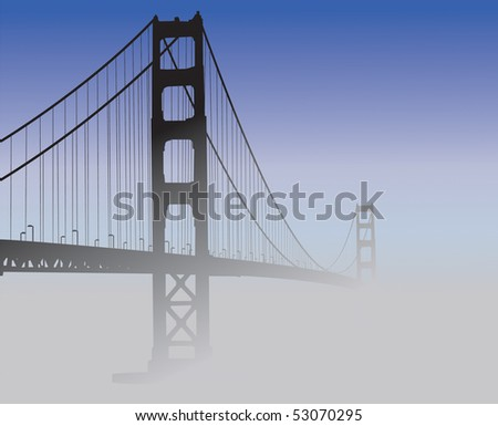 Silhouette of the Golden Gate Bridge covered in fog. - stock vector