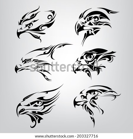 Silhouette of the head of birds. Vector illustration - stock vector