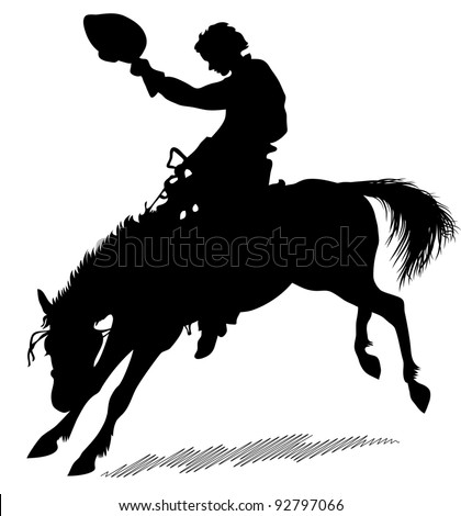 Silhouette of the horseman which sits on a dancing horse. Silhouette of the horseman on a white background - stock vector