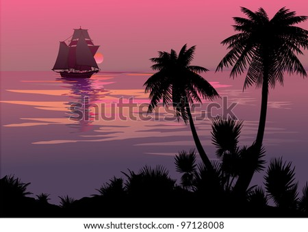 Silhouette of the jungle on the ocean background. Vector art-illustration. - stock vector