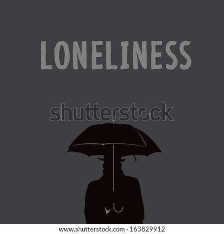 Silhouette of the lonely man under an umbrella, vector illustration.  - stock vector