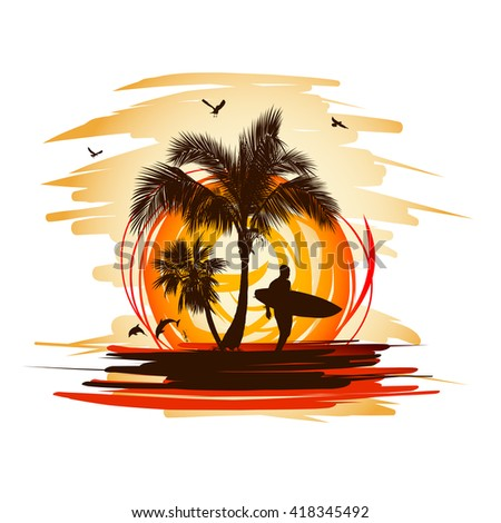 Silhouette of the man with a surfboard at sunset - stock vector