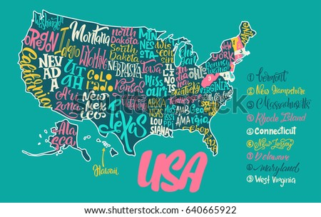 Silhouette Map Usa Handwritten Names States Stock Vector - Texas map of usa