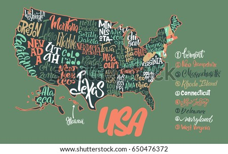 Usa Map States Pictorial Geographical Poster Stock Vector - Us map names of states