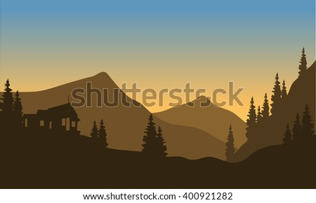 Silhouette of the mountain from below with brown background - stock vector