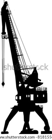Silhouette of the port crane - stock vector