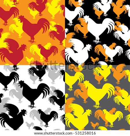silhouette of the rooster crow seamless (four colors in different layers)