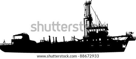 Silhouette of the sea ship - stock vector