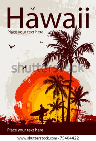Silhouette of the surfer, tropical beach - stock vector
