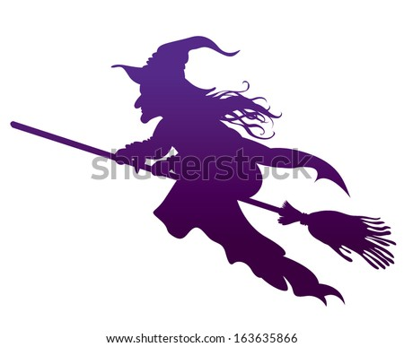 silhouette of the Witch on a broomstick - stock vector