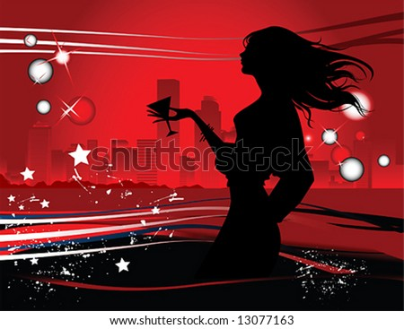 Silhouette of the woman in the night big city, vector illustration