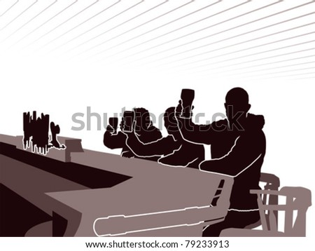 Silhouette of three men raising their pint glasses in a pub. - stock vector