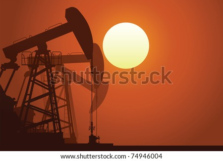 Silhouette of three oil rigs - stock vector