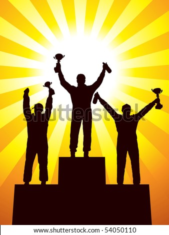 Silhouette of three racers on the podium - stock vector
