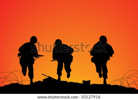 Silhouette of three soldiers on the battlefield - stock vector
