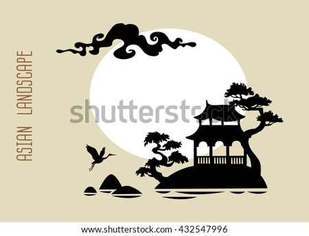 Silhouette of traditional asian landscape
