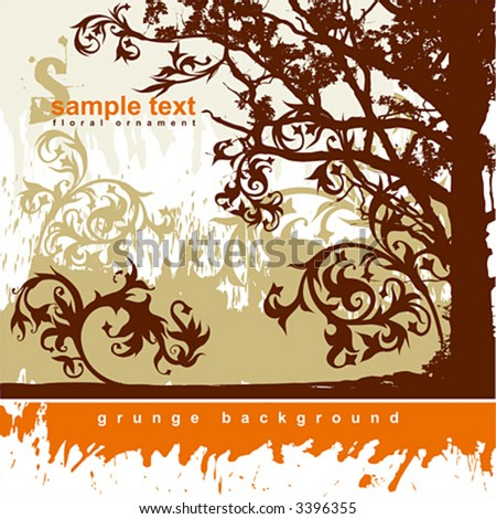 Silhouette of tree on a grunge background and calligraphy flowers ornament