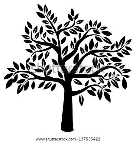 Silhouette of tree on white background (Vector illustration) - stock vector