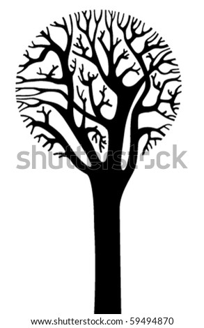 Silhouette of tree with a round crown - stock vector