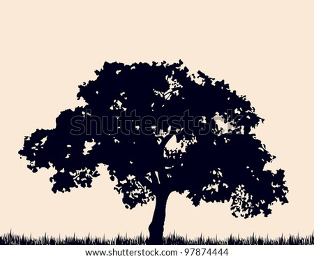 Silhouette of tree with grass. Vector - stock vector