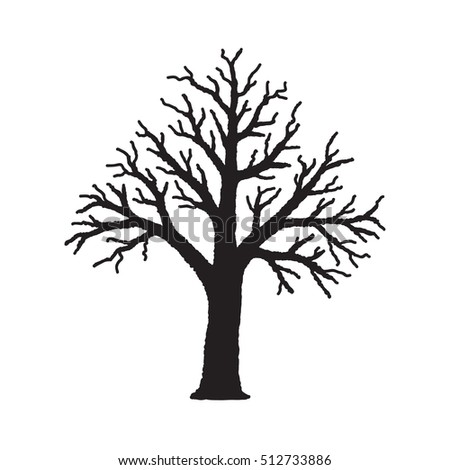 Silhouette of tree without leaves, hand drawn vector illustration