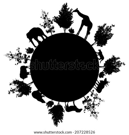 Silhouette of  trees and wild animals walking around the world - stock vector