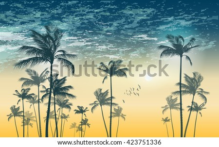 Silhouette of tropical palm trees at sunset or sunrise, with cloudy sky . Highly detailed  and editable