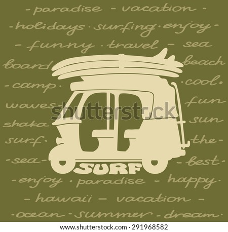 Silhouette of tuk tuk with surfboards on a green background. Vector surf poster.  - stock vector