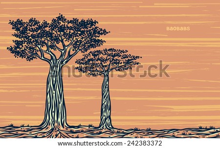 Silhouette of two graphic baobabs on a yellow background. Vector sketch of Madagascar. - stock vector