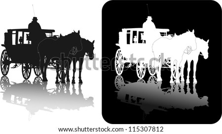 Silhouette of two horses and coach with coachman with reflection black-and-white - stock vector