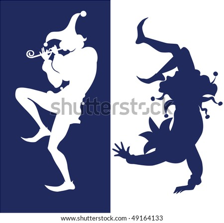 silhouette of two jester - stock vector