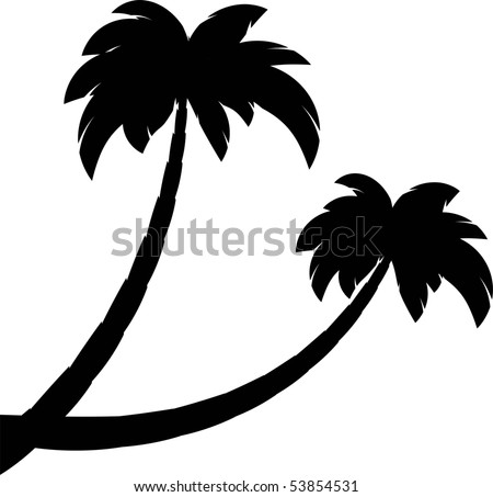 Silhouette of two palms - stock vector