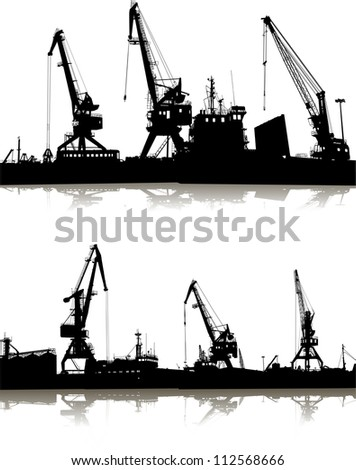 Silhouette of two ports - stock vector
