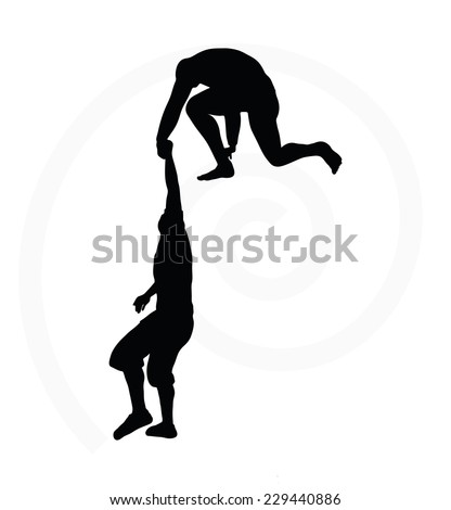 silhouette of two senior climbers men team holding on with a helping hand - stock vector