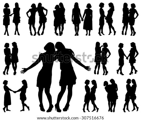 silhouette of two young slender women on the white background for your design - stock vector