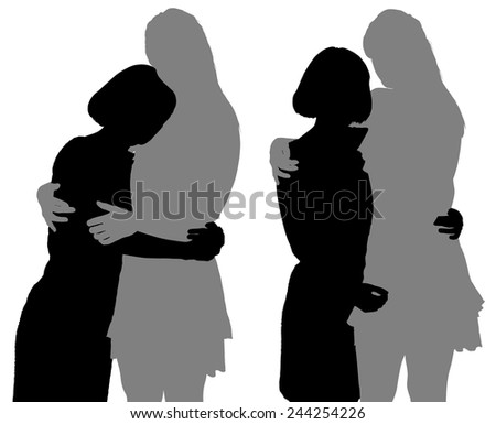 silhouette of two young women - stock vector