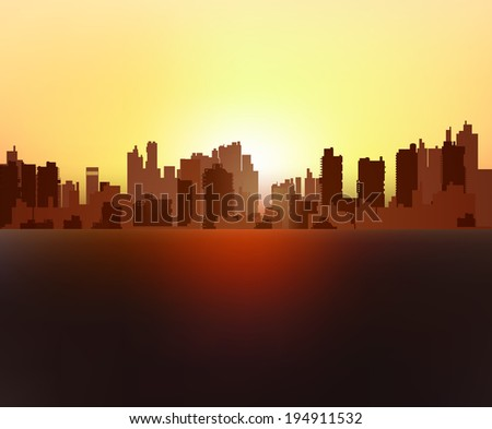 Silhouette of urban high-rise buildings - stock vector