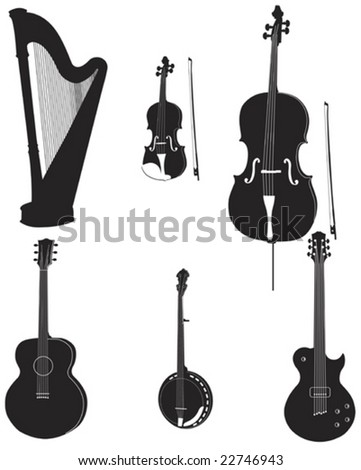 silhouette of various musical instruments fully editable and on separate layers