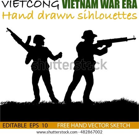 Silhouette of Vietnamese soldier or guerrilla force Circa late 1960's in Vietnam. Artist illustration.